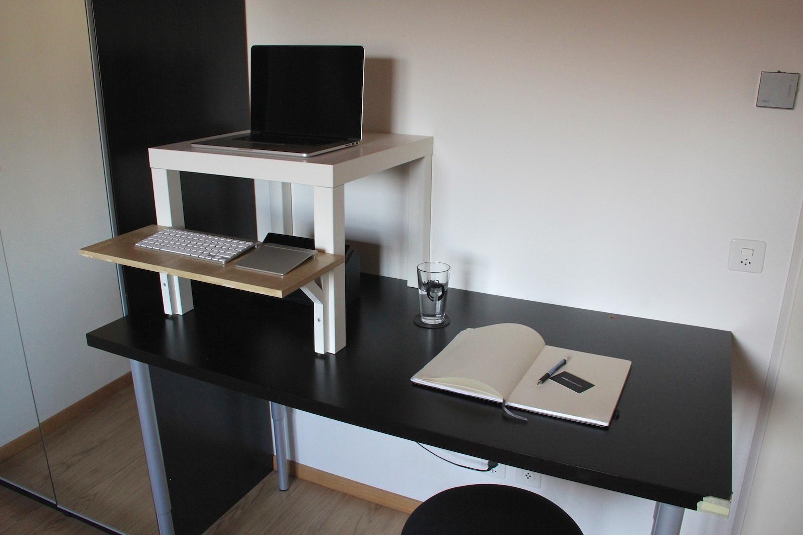 Standing desk and normal desk, side by side